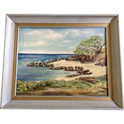 Martha Stanley, Oil Painting, 1960 Lanikai Beach, Oahu, Hawaii Family on Beach While a Man is Fishing, Signed by artist