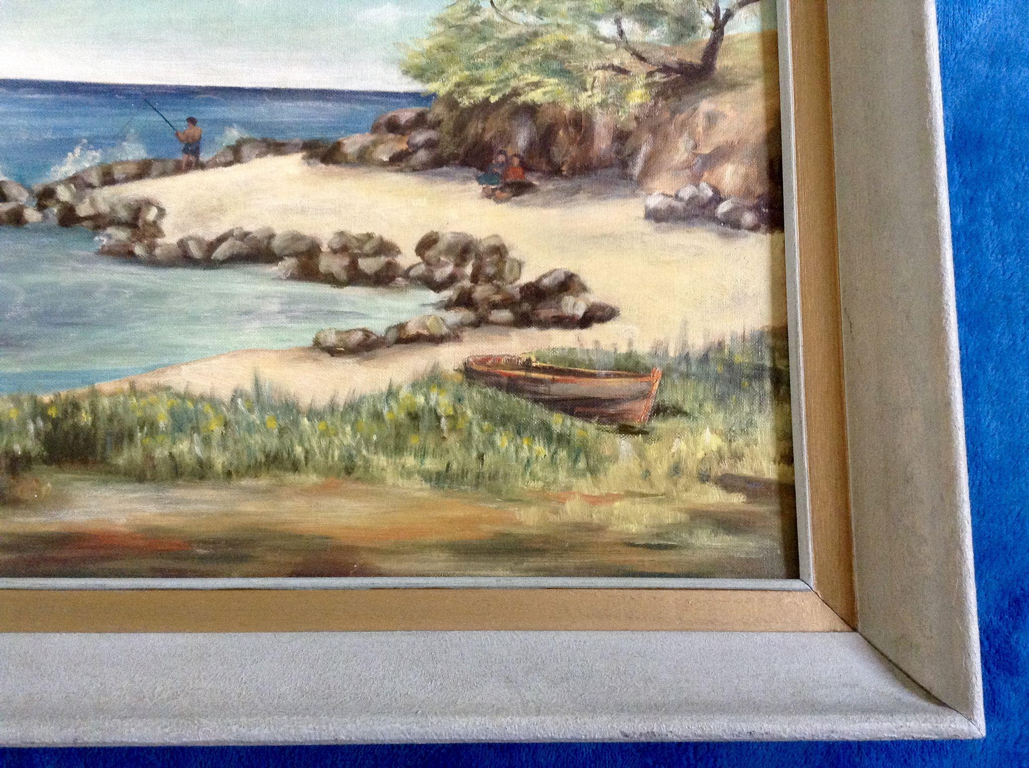 Martha stanley oil painting 1960 lanikai beach oahu for Fishing stores oahu