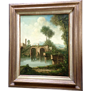 C Patin, Landscape Oil Painting of a Farmer Walking his Cow Across a Bridge, Signed by Listed Artist