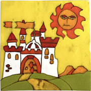 Gorgeous Spanish Tile Yellow Happy Sun & Castle Ceramic Red Clay Large 11-1/4""