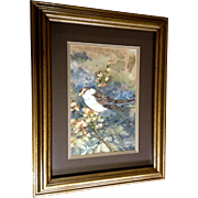 Cecelia (Cece or Cee) Rodriguez, Watercolor Painting Sparrow Bird on a Tree Branch, Works on Paper by Hawaiian Artist