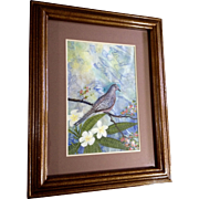 Cecelia (Cece or Cee) Rodriguez, Watercolor Painting Dove Bird in Tropical Forest, Works on Paper by Hawaiian Artist