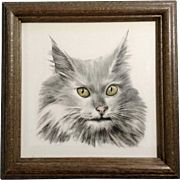 Maine Coon Grey Cat Keramik Germany Ceramic Tile AMS Wall Hanging in Wooden Frame