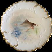 "Vintage Jean Pouyat (JP) Limoges France Fish Plate Hand Painted 8-1/4"" Diameter (1890-1906) JPL"