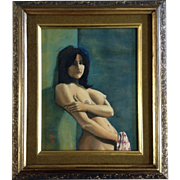JMH, Nude Oil Painting Woman Leaning Against a Wall, Monogrammed by Artist