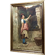 Francesco de Maria (1845 - 1908) Watercolor Painting, Italian Girl At The Well, Works on Paper, Signed by Listed Artist