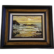 Page, Seascape Sunset Oil Painting on Canvas Signed By Artist