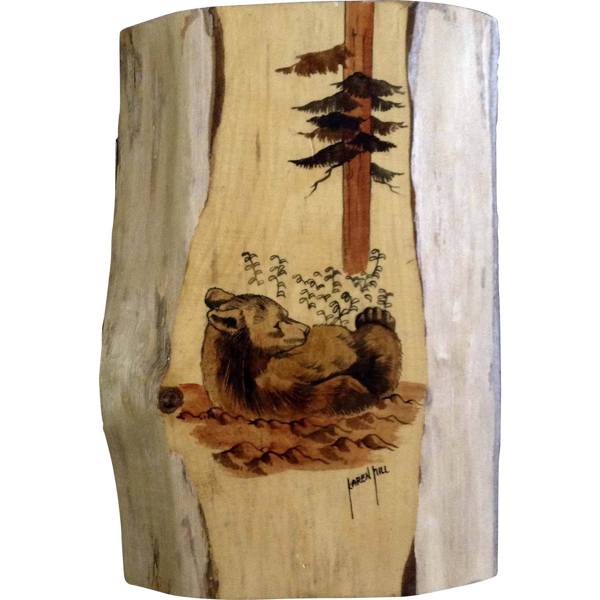 Karen hill watercolor painting on wood plank bear in the