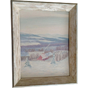 A E Deeds, Winter Wonder Land Oil Painting on Artist Panel 1963 Signed by Artist