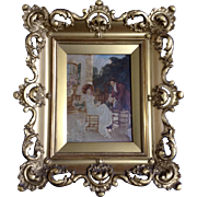 Brumm, Antique Oil Painting Enhanced Sepia Tone Photo on Canvas Man With a Lady 19th Century Signed by Artist