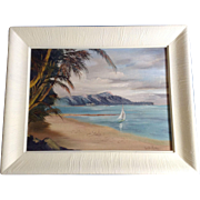 Lucille Rainey, Seascape Sailboat Kaaawa Beach, Oahu Hawaii Oil Painting on Canvas Board Signed By Artist
