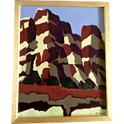 M Rayle, Santa Fe Cliff Forms Acrylic Painting on Canvas Board Signed by Artist