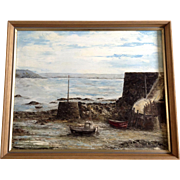 Elizabeth Brouard, Ship Harbor Oil painting on Canvas Board Signed by French Artist