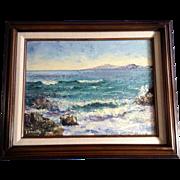 Frances J Collins, Sea Foam, Santa Catalina Island from Laguna Beach California Oil Painting on Board Signed by California Artist