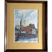 Sehr, Paderborn Cathedral in Germany Watercolor Painting Signed by Artist 1953