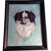 Tibetan Spaniel Mix Dog Portrait Oil Painting on Canvas Board Initialed by Artist 1960-1970