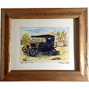 Ted Terman, 1910 Model T Ford Watercolor Painting Signed by Artist
