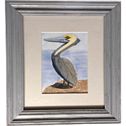 JR Springston Pelican at the Beach, Watercolor Painting Works on Paper Signed by Artist