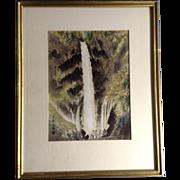 Kotozuka Eiichi Kegon-no-taki Fall in Autumn Woodblock Print Etching Listed Japanese Artist