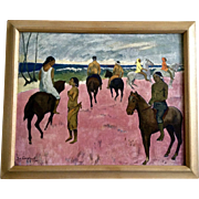 Paul Gauguin -1902 Riders on the Beach, Vintage Print Art Picture 1940's-1950's in Original Old Frame Merwin's Art Shop New Haven, Conn.
