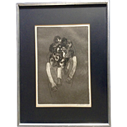 LT Russell, Abstract Bizarre Zombie Human Stone Lithograph Signed by Artist 1968
