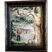 Sherman, Fishing on the Riverbank Watercolor Painting 1930's-1940's Works on Paper signed by artist from the Estate of Roy Donnelly Connecticut, USA