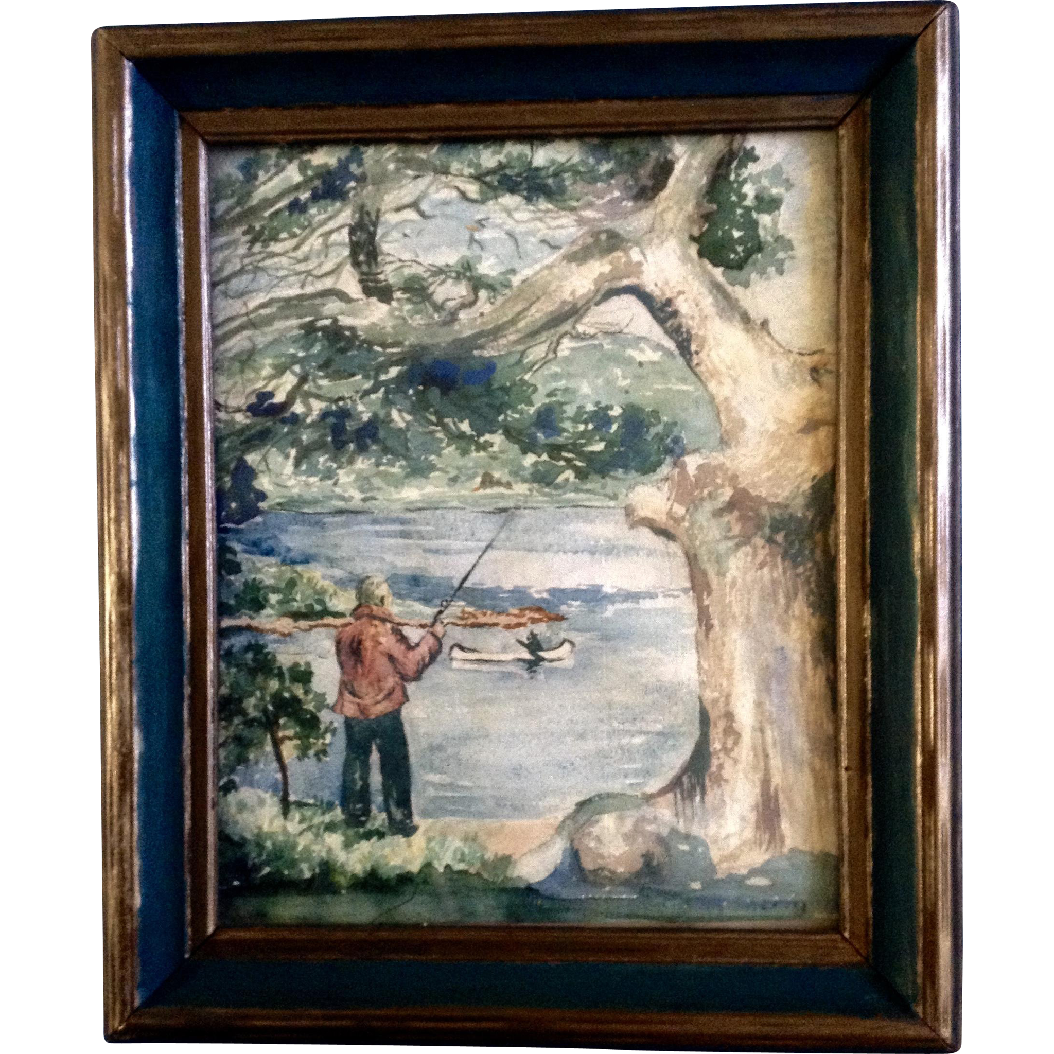 Connecticut watercolor artists directory - Sherman Fishing On The Riverbank Watercolor Painting 1930 S 1940 S Works On Paper Signed By Artist From The Estate Of Roy Donnelly Connecticut Usa