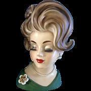 Napco Head Vase Lady EXTRA LARGE 10 Inch  Woman in Green Dress Napcoware C6987 Napco Headvase Girl