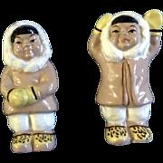 Victoria Ceramics Eskimo Salt & Pepper Shakers Made in Japan Mid-Century Figurines
