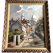Emile Lesaout Church Cathedral Sacre Coeur in Paris France Oil Painting on Canvas Signed by Listed Artist