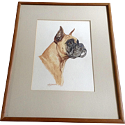 Ole Larsen (1898 - 1984) Boxer Dog Portrait Original Watercolor Painting Works on Paper Signed by Listed Artist