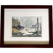 Small Watercolor Painting Harbor at Low Tied Nautical Works on Paper Signed