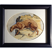 C. B. Marlow, Mountain Lion on Rocky Cliff Watercolor Painting Works on Paper Signed by Artist