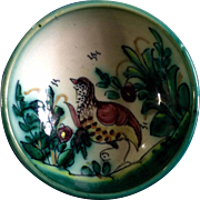 A. H. Puente Majolica Art Pottery Bowl With Bird Vintage Spanish Hand Thrown Hand Painted HTF Piece Ceramic