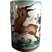 A. H. Puente Majolica Art Pottery Cup With Stag Deer Vintage Spanish Hand Painted Hand Thrown Rare Piece Ceramic