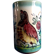 A. H. Puente Majolica Art Pottery Cup With Bird Vintage Spanish Hand Painted Hand Thrown Rare Piece Ceramic