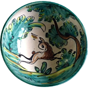 A. H. Puente Majolica Art Pottery Bowl With Stag Deer Vintage Spanish Hand Painted Hand Thrown Rare Piece Ceramic