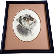 Marge Maret, Miniature Schnauzer Dog Portrait Watercolor Painting Works on Paper Signed by Artist