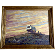 Roy D. Porter (1902-1971) Colorful Skyscape  of a Sheepherders Wagon and Herder With His Dog, Oil Painting on Canvas Panel Signed by Listed Artist