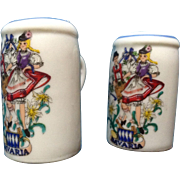 Vintage Reutter Porzellan Germany Bavaria Beer Steins with Folk Dancers Salt & Pepper Shakers