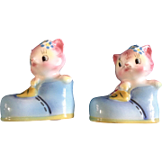 PY Anthropomorphic Cat Salt or Pepper Shakers Vintage Identical Twins Both have One Hole Made in Japan Mid-Century
