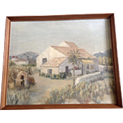 Spanish Oil Painting On Canvas Panel Hacienda With a Brick Oven