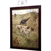 Large Pointer Bird Hunting Dogs Watercolor Painting Works on Paper (1890 -1920) Vintage With Original Glass and Frame.