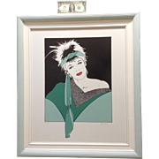 1980's Pinup Pop Art Woman Silkscreen Serigraph Print Large Limited Edition Signed by Artist H. Schmidt in Original Frame # 22/100