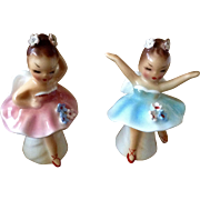 Vintage Salt & Pepper Shakers Ballerina Girl Angels w Rhinestone Flowers in Hair 041 Made in Japan Mid-Century Figurines