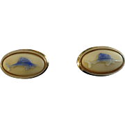 Vintage Swordfish Marlin Men's Cufflinks By Shields Oval 2 Demential Blue on Cream Background Mid-Century