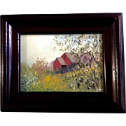 Irene Spiegel, Small Oil Painting on Canvas Panel The Red House 1920's -1940