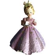 Josef Originals Girl holding a Piece of Cake Lavender Pink Dress Japan Vintage Figurine
