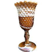 Slag Glass Vase Chocolate Carmel Color Ripple Rim Vintage