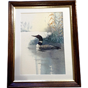V. Buescher, Loon Bird at the Edge of a Pond, Watercolor Painting Works on Paper, Signed by Artist